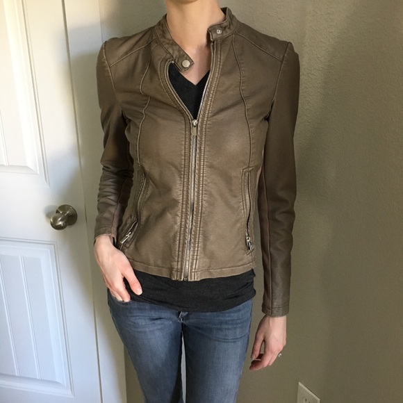 Express Jackets Coats Taupe Faux Leather Moto Jacket Poshmark
